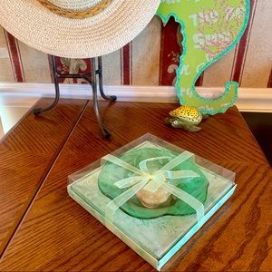 Other - Glass Candle Dish Green/Floating Rose Candle NWOT